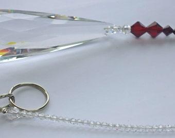 january birthstone, garnet, Swarovski crystal, suncatcher, large hanging prism, handmade, crystal ornament, made in Australia, unique gift