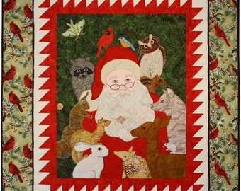 BOM Pattern Set -- Woodland Santa Quilt -- Six Appliqué Patterns -- Block of the Month Santa Quilt -- Set of Six Traditional Sewing Patterns