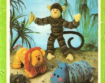 Simplicity 9157 Yo Yo YoYo Toy Pattern LION MONKEY HIPPO Vintage 1970s 1979