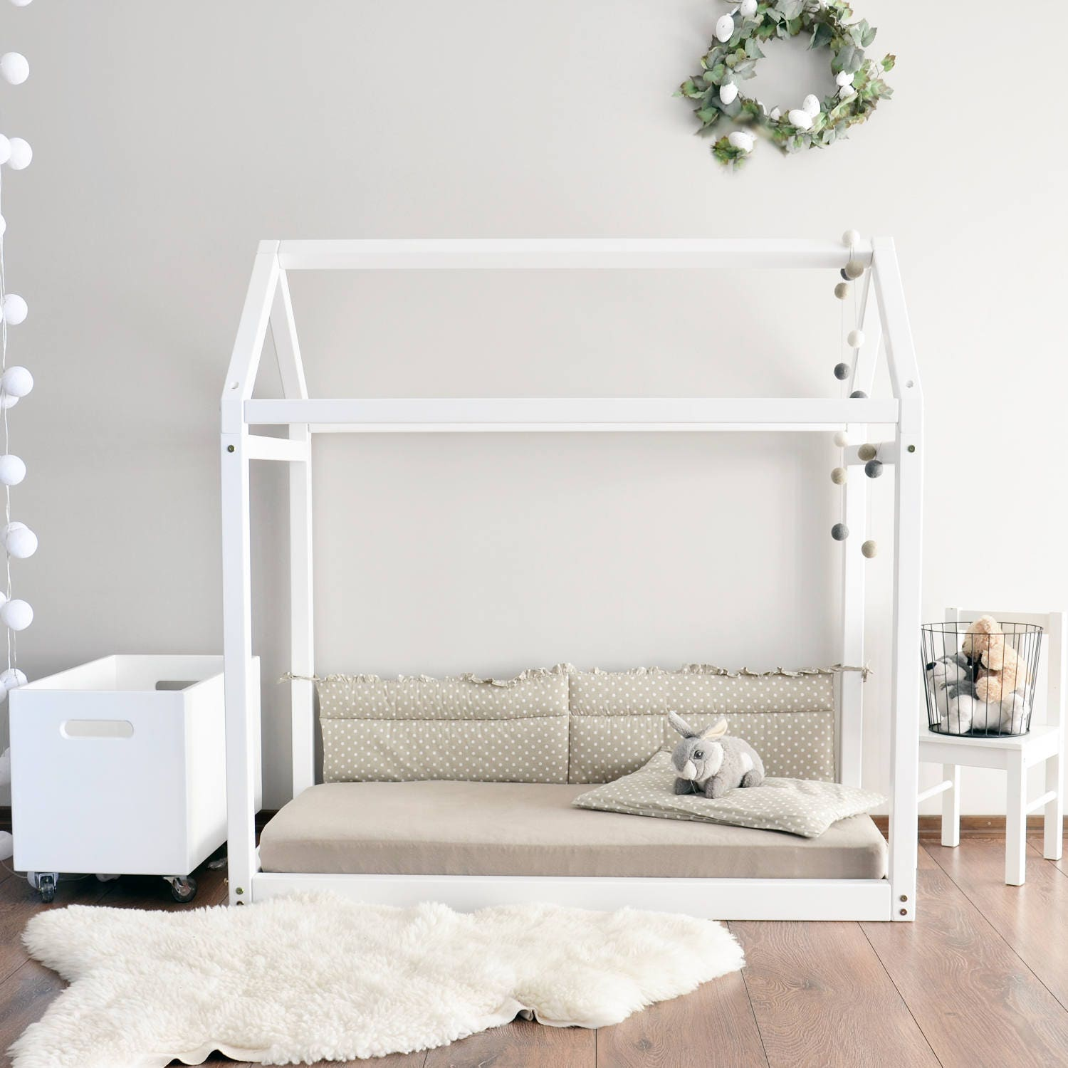 Full size Toddler bed Montessori house bed frame baby bed