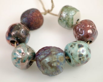 Metallic mojo...Raku, Artisan, beads