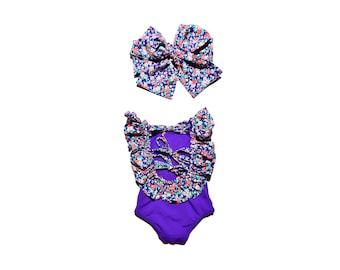 0M-9Years Purple floral girl swimsuit Girls swimsuit Baby girl swimsuit Baby girl swimwear Toddler Swimsuit Orange swimsuit
