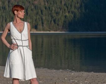 Kleid, Sommerkleid Weiß, Boho Kleid, Festival Kleid, Weiße Boho Kleid, Blusen Kleid, Baumwolle, Knielanges Kleid, Lange Weste