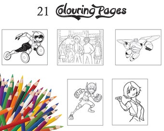 21 Assorted Children Colouring PagesColouring Book Activity Party Of Big Hero 6