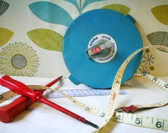 Fathers Day Gift. Man cave decor, Industrial decor, Vintage Measuring Tape, Hard Case Tape Measure Rabone Chesterman FIBRON, 100 Feet 30m