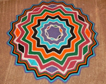 Lapghan or Baby Blanket or Sofa Accent Hand Crocheted Starburst Afghan Blanket Design