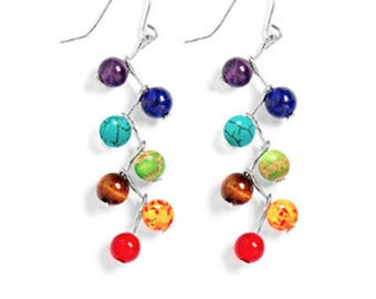7 Chakra Healing earrings , Mala earringse Meditation earrings - Protection, Energy,Chakra Gemstone earrings, Seven Chakra earrings