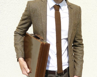 Mens Tie Knit in Dark Chocolate Brown Lambswool - Gift For Him Men Dad Boss MADE TO ORDER