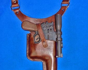 """Leather Star Wars Inspired Low Slung """"Solo"""" TOY DL-44 Style Holster Made To Order"""