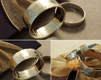 Engravable ladies or mens wedding band , can be personalized, 14kt yellow gold 3mm 3.5mm 4mm 4.5mm 5mm 5.5mm 6mm 7mm 8mm matte hammered ring
