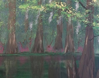 Deep Cypress original acrylic painting on stretched canvas
