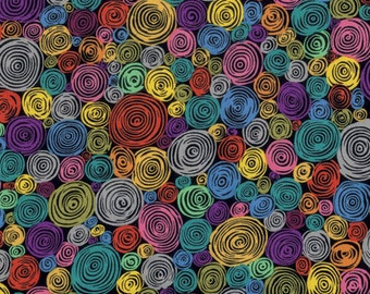 Kaffe Fassett Fall 2016 Rolled Paper in Black = pink purple circles swirls quilt cotton fabric by the yar metre PWGP158.BLACK