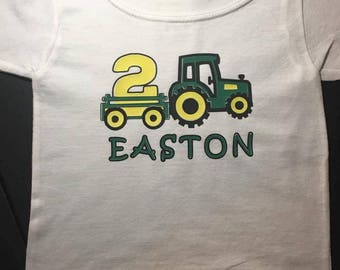 Personalized Tractor Birthday T shirt