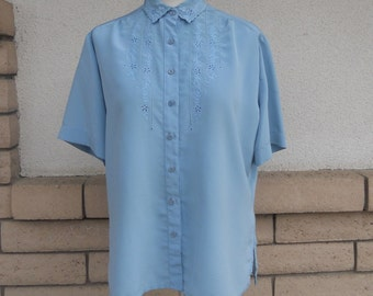 Smoky Blue Cut Work Blouse by Campus Casuals of California Size Large