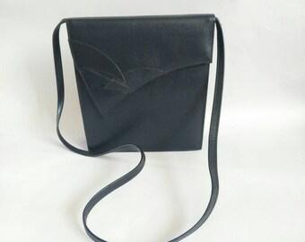 K by Clark's bag shoulder bag 1980's vintage bag blue leather bag ladies bag