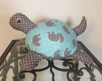 Elephant Print Handmade Stuffed Turtle