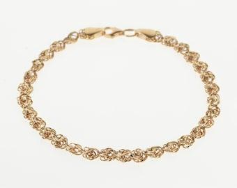 """14K 5.3mm Rolling Twist Spiral Link Chain Bracelet 8"""" Rose Gold"""