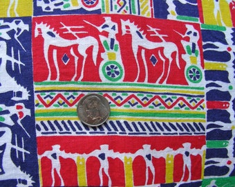 Vintage Novelty  FEEDSACK Feed Sack Cotton Fabric - Colorful Horses and Chariot Carriages   - 36 x 46