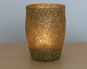 Glitter votive glass candle tea light holder home decor wedding table centrepiece gold silver baby shower rustic