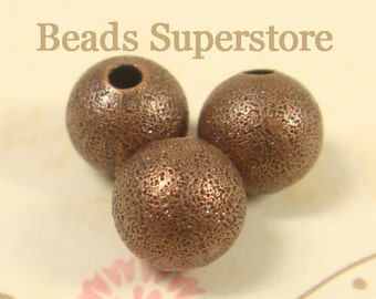 8 mm Antique Copper-Plated Brass Stardust Round Bead - Nickel Free and Lead Free - 25 pcs