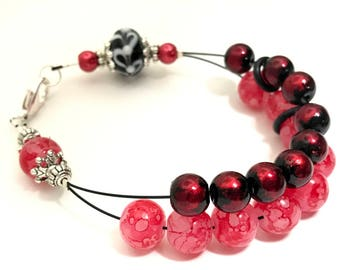 So Red Abacus Counting Bracelet, Beaded Knitting Row Counter, Gift for Knitters, Counting Jewelry