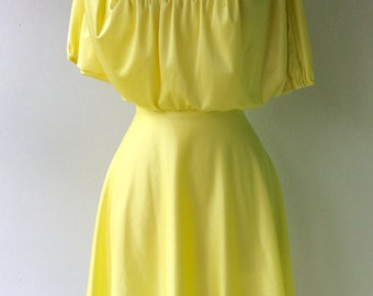 REVIVED Yellow Vintage 1970s Mini Dress with Lace Detail // Size XS - S