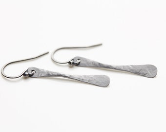 Simple, Rustic & Chic. 11th Anniversary Steel Earrings. A modern and minimal gift for her. Hand forged and handmade to order.