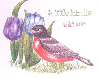 "Funny Wedding Card ""A little birdie told me"" with robin and tulips 