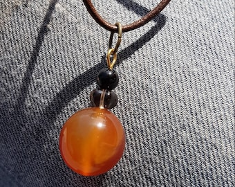 Carnelian Brown Leather Necklace with onyx and smokey quartz