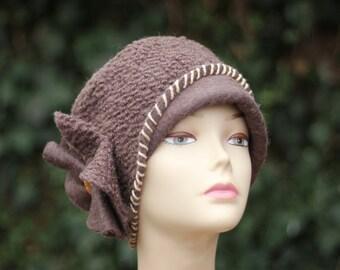 Women's Winter Hat, Women's Hats.Hat wool fashion  Brown Cloche Hat ,  Wool Woman's Winter Hat,Teen Fall Fashion,Brown Wool Hat