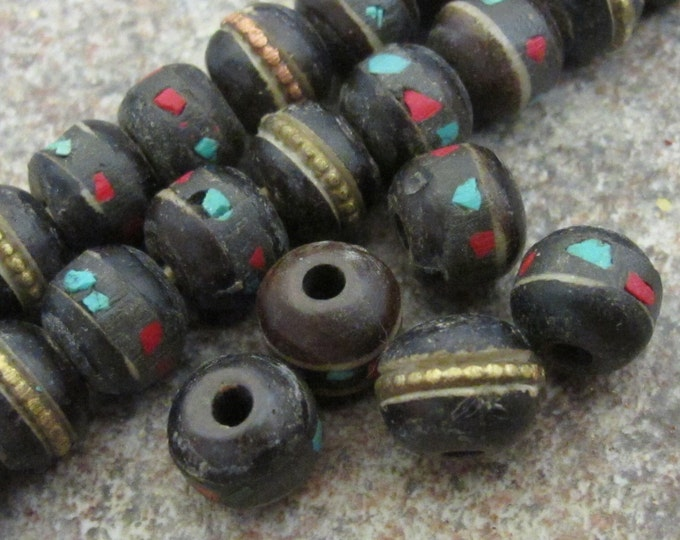 Rondelle shape Tibetan bone beads with turquoise coral inlay 8 mm  - 10 beads- NB072