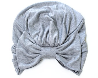 Turban with Bow - Heather Grey Hair Wrap in Jersey Knit - Women's Fashion Head Covering - Lots of Colors