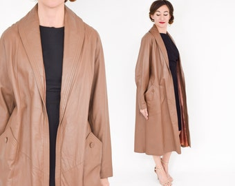 50s Brown Leather Coat   Brown Leather Swing Coat
