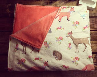 Custom: Minky and flannel woodland creatures baby or toddler blanket