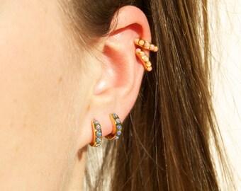Opal hoops - tiny gold hoop earrings - hoop earrings - gold hoop earrings - tiny gold hoops - hoop earrings - gold hoops - opal - E4-HU-0621
