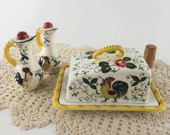 Mid Century Early Provincial Rooster and Pink Rose Butter Dish and Salt & Pepper Set by Ucagco PY Hand Painted in Japan Ceramic Yellow Bands