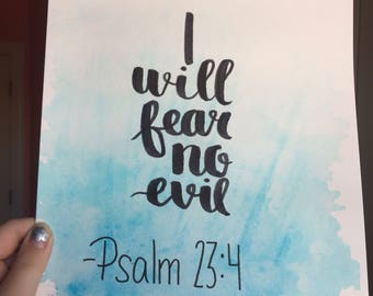 Psalm 23:4 Original Watercolor Painting