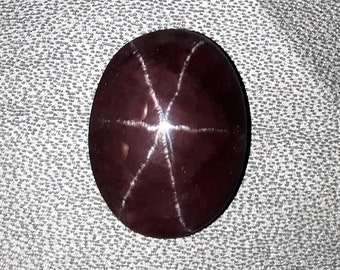 15. cts natural red garnet star 6 ray, smooth cabochon oval shape size 12x16x6 mm high quality loose gemstone