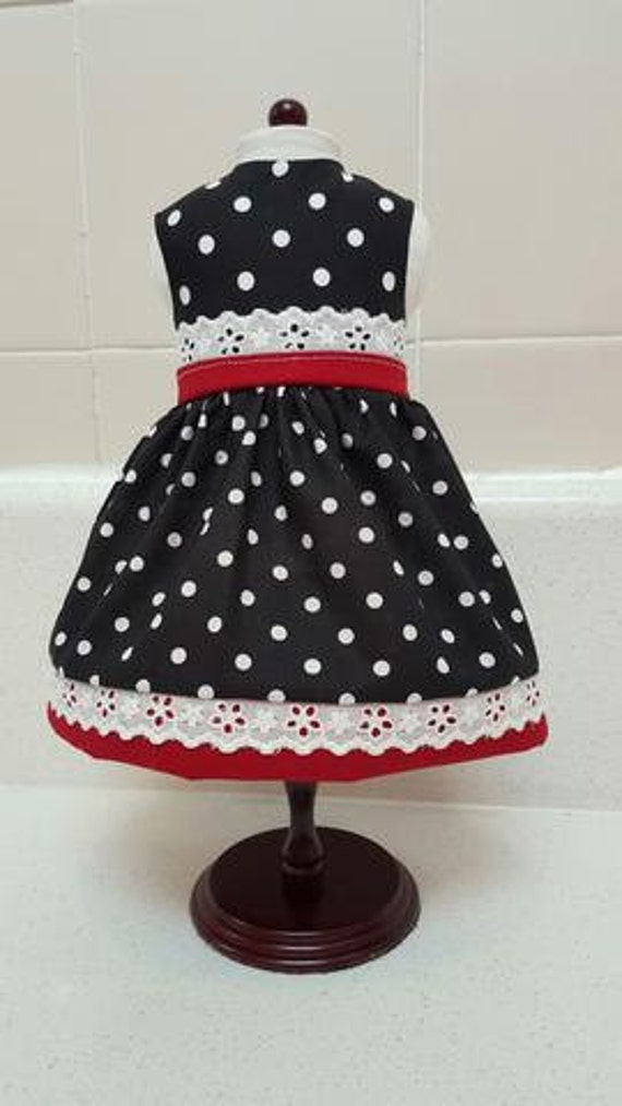 Clean Navy Blue Polka Dot with Red and White Eyelet Lace American Made 18 Inch Doll Clothes