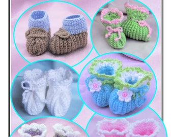"Crochet baby booties ""Super Simple Baby Booties"" Annie Potter Presents"