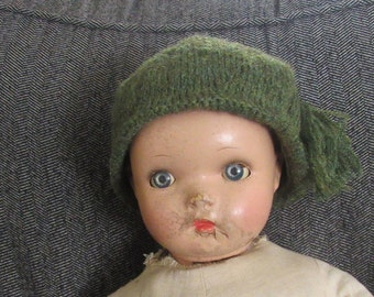 Doll Hat Green Wool Hand Knitted  for Larger Doll Vintage