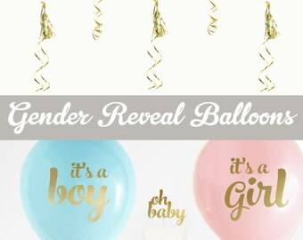 Gender Reveal Balloons - Gender Reveal Ideas - Gender Reveal Party Decor - Gender Reveal Gift (EB3110BBY) - SET of 3 Balloons