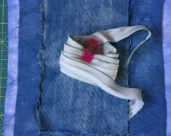 Natural Indigo Dye Pack #2 Artist Bundle Medium Sized Scrap Cotton Cloth for Collage Quilting Story Board