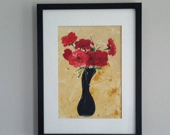 Original acrylic painting of Red Roses