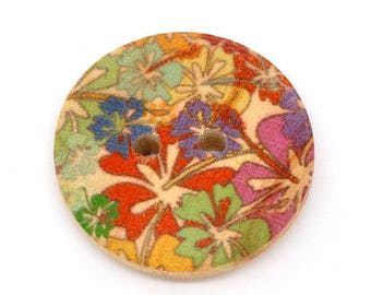 Set of 5 buttons wood Floral Theme (4) - 23 mm - 2 holes