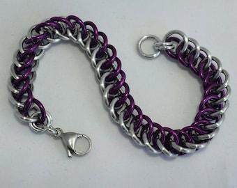 Purple and Silver aluminum Half Persian 3 in 1 bracelet