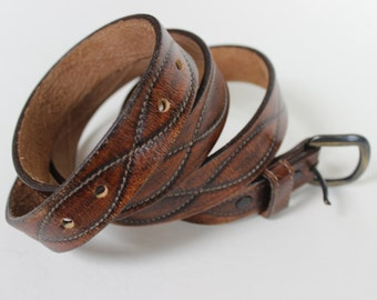 Vintage Hand Rubbed Cowhide Brown Leather Belt