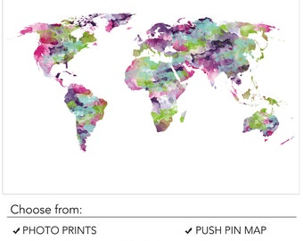 Purple world map wall art in large 20x30in country labels funky world map pink and purple world map bright color world map poster gumiabroncs Gallery