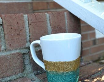 Ombre Gold and Teal Coffee Mug