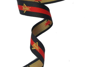 Grosgrain Black Red Striped Ribbon Trim with Bee, Embroidered Ribbon Trim 3 cm